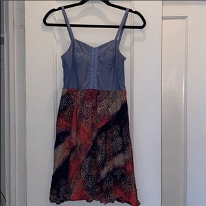Colorful dress with jean top
